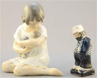 Royal Copenhagen 1983 figure & small pottery figure.