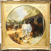 """Oil on canvas signed J.F.Herring 1849, 31 1/2"""" d.,"""