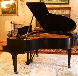 """Black lacquered Steinway 5'7"""" grand piano and bench,"""