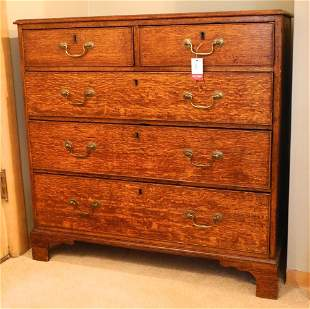 "Georgian oak five drawer chest, 38"" wide."