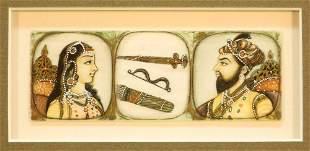 """Persian Eyelash Painting on Sheet Ivory, 1"""" x 3 1/2""""."""