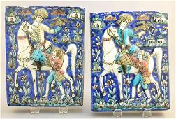 """Pair of Persian pottery """"Falconry"""" tiles, 8 1/2"""" high."""