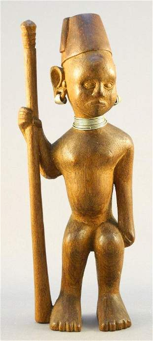 """Colonial African Carved Wood Figure, 8 3/4"""" high."""