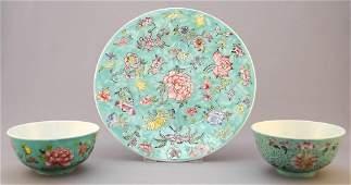 """3 Pieces of Turquoise Enamel Porcelain: Dish (9"""""""