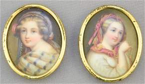 """Two miniature portraits """"Playing Organ"""" & """"Girl with"""