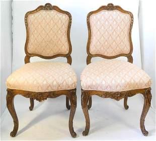 Pair of Louis XV Walnut Salon Chairs.