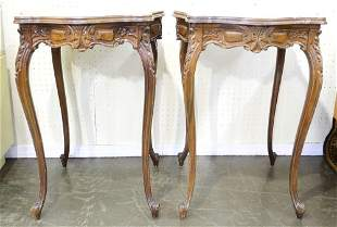 Pair of Fancy Inlaid Walnut Side Tables.