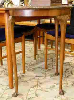 Burl Walnut Demilune Side Table.