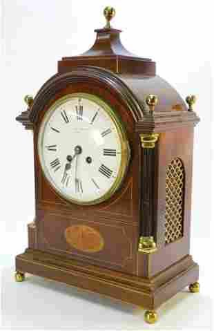 Inlaid Mahogany Bracket Clock, Dial Signed Alex Clark,