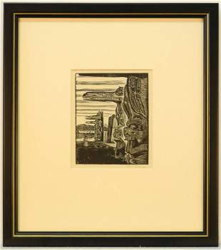 """Wood Engraving Signed W.J. Phillips, 5 1/4"""" x 4 1/4"""","""