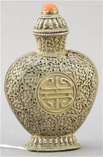 "Filigre Snuff Bottle bearing the figure Shou, 3 5/8"""