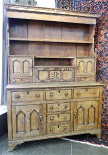 Antique Oak Welsh Dresser with Hutch.