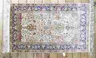 "Turkish Silk Prayer Rug, approximately 61"" x 35""."