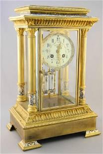 Brass & Champleve Enamel Mantle Clock, Movement Signed