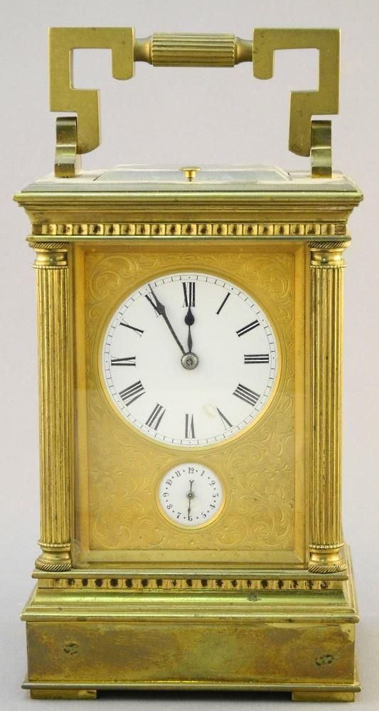 Brass Repeating Carriage Clock with Secondary Dial &