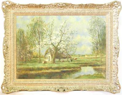 """Oil on Canvas Signed W. Hendrick, 20"""" x 28"""", """"Pastoral"""