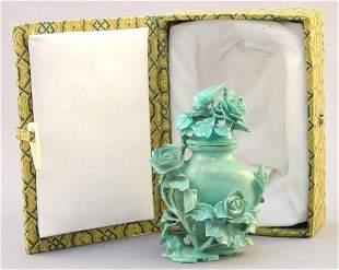 "Chinese Turquoise Boulder ""Vase"" Snuff Bottle, 3 1/4"""