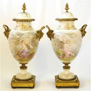 """Pair of Antique Sevres Urns with Ormolu Mounts, 19 1/2"""""""