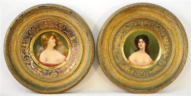 Pair of Royal Vienna Style Portrait Cabinet Plates