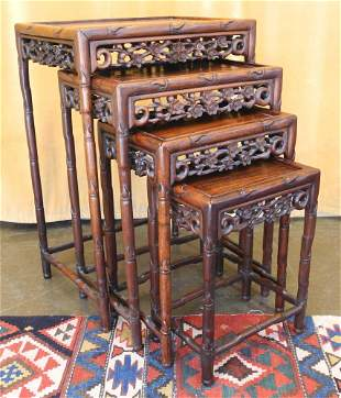 """Chinese Carved Hardwood Nest of Tables, 28 1/4"""" high."""
