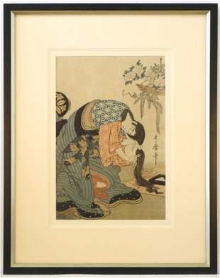 "Woodblock signed in plate Utamaro, 14"" x 9 1/2"","
