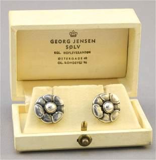 Pair of Georg Jensen Sterling Screw Back Earrings, #36,