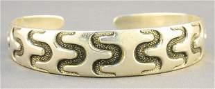 "David Anderson Sterling Bracelet, Marked ""Copy Viking"