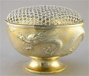 """Chinese Export Silver """"Dragon"""" Bowl with mesh frog, 7"""""""
