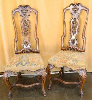 Pair of Ornate High Back Walnut Continental Side