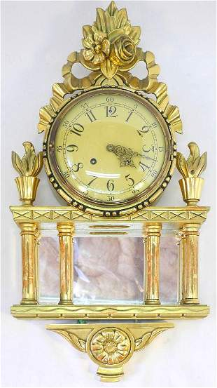 "Westerstand Colonnaded Gilt Wall Clock, 26"" high."