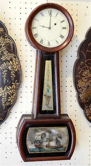 19th Century Rosewood Lighthouse Clock, Naval Battle