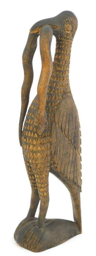 Papua New Guinea Carved Bird with Eel By Plasus Asapi,