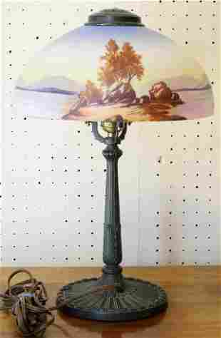 American Pittsburgh Lamp Brass & Glass Co. Hand Painted