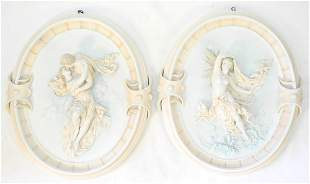 Pair of Antique Bisque Oval Wall Plaques of Lovers, 16