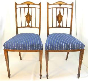 Pair of Fine Edwardian Inlaid Rosewood Side Chairs, 34
