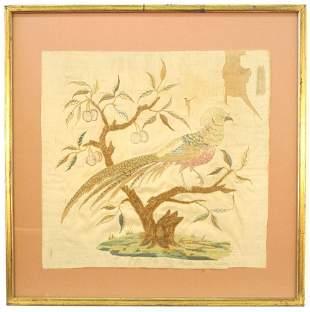 "Georgian Silk Embroidery of a Golden Pheasant, 12 3/4"""
