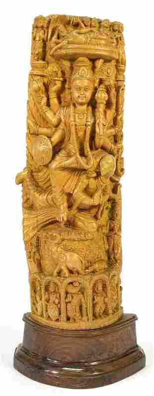 """Indian Carved Hardwood depicting Shiva on Base, 22 1/4"""""""