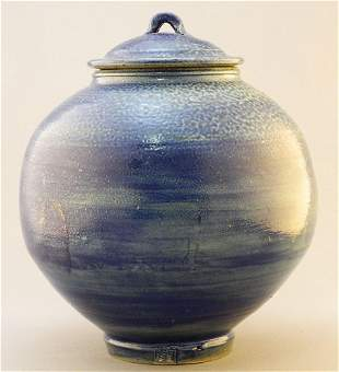 Lidded Blue Glazed Pot Signed with Chop by Wayne Ngan,