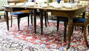 Early Victorian Mahogany D-End Dining Table.