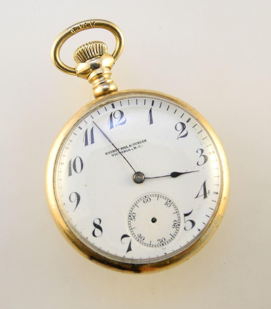 14K Gold Case Pocket Watch Short Hill & Duncan,