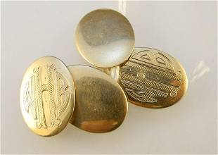 Pair of 10K Gold Oval Form Cuff Links.