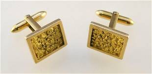 Pair of 10K Gold Square Form Cuff Links.
