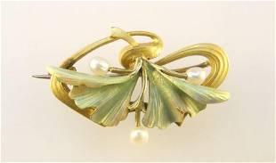 18K Yellow Gold Translucent Enamel & Pearl Art Nouveau