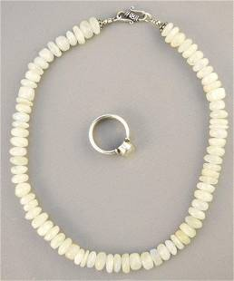 """Sterling & Moonstone Ring & Necklace, ring size 8 1/2""""."""