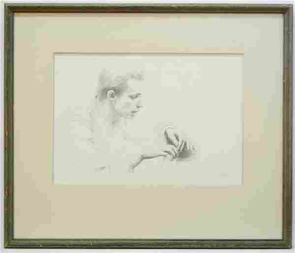 """Pencil Sketch signed Myfanwy (Pavelic), 9"""" x 13"""","""