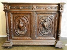 Continental Oak Cabinet with Natur Mort Relief Doors,