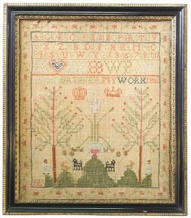 "Needlework Sampler Dated 1816, 17"" x 14 1/2""."