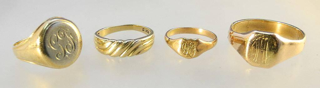 4 10K Gold Rings, 14.44 grams.