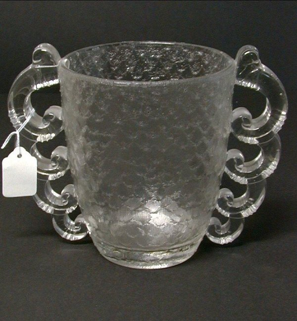 401: Art glass vase with swirl handled decora