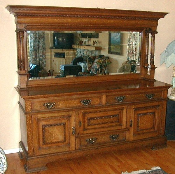 663: Victorian Art Nouveau carved oak sideboa